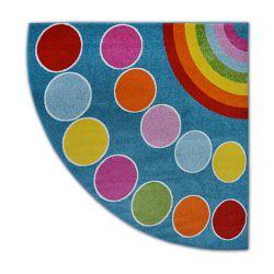 Teppich PAINT Viertelkreis G4776 - Regenbogen blau/sahne