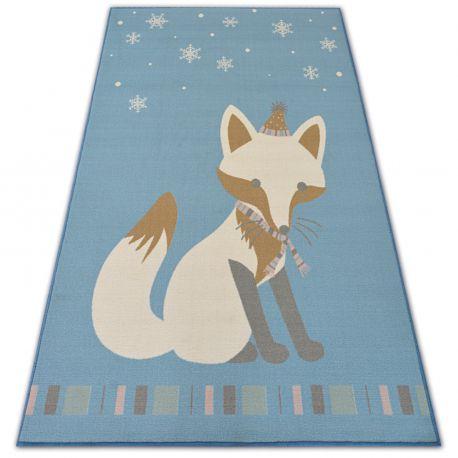 Teppich für Kinder LOKO Fuchs blau Antirutsch