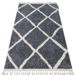Teppich BERBER CROSS B5950 grau / weiß Franse berber marokkanisch shaggy zottig